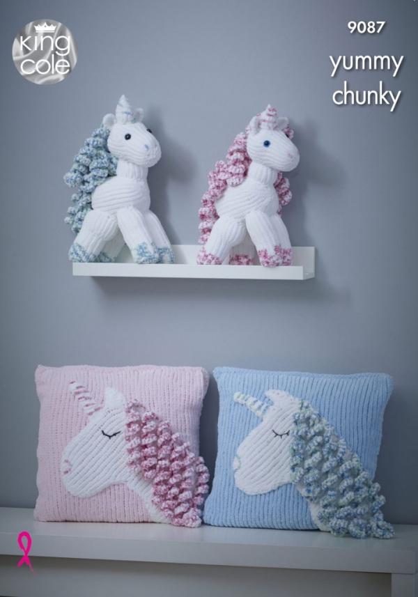 King Cole Yummy Chunky Pattern 9087 Unicorn & Cushion 9087