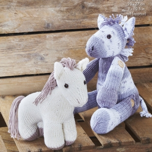 King Cole Cottonsoft dk Pattern 9128 Pony with Buttons-On Legs & Standing Pony 9128
