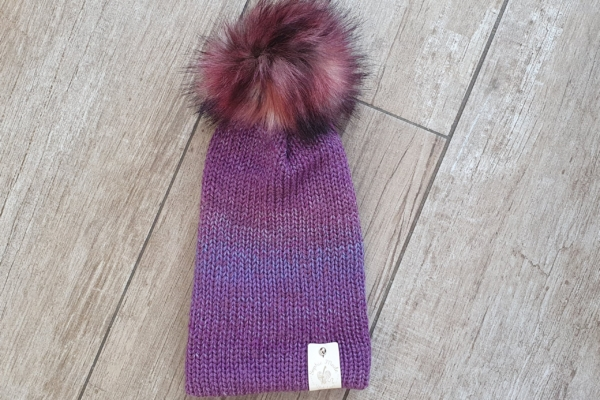 Knitted Hat With Faux Fur Pompom